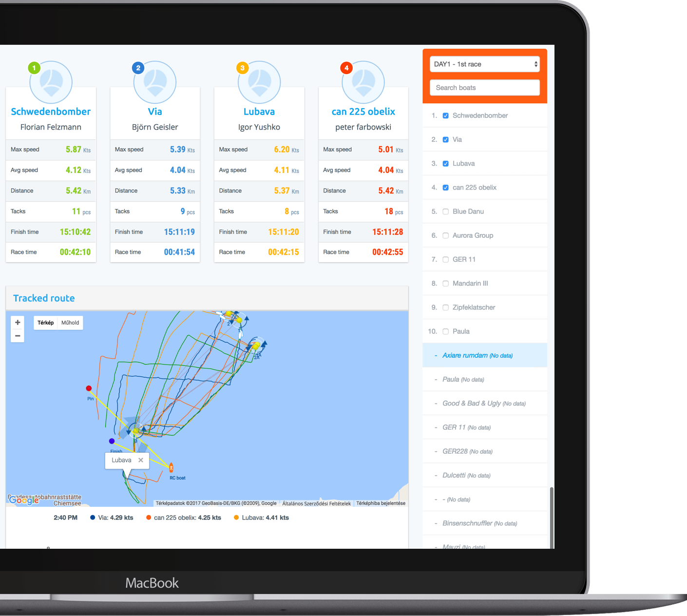 Get detailed performance analytics - Kwindoo, sailing, regatta, track, live, tracking, sail, races, broadcasting
